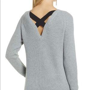 NWT gray Halogen sweater black ribbon